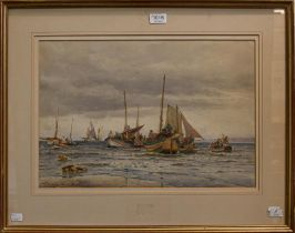 Thomas Bush Hardy (1842-1897) ''Landing fish at Scarborough'', signed, inscribed and dated 1887,