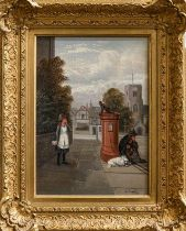 Edward Priestley (1820-1880) Young girl frightened by a monkey atop a letterbox, signed, oil on