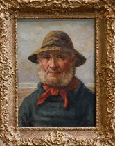 David W Haddon (fl. 1884-1914) Fisherman, head and shoulders. signed, oil on panel, 34cm by 24.5cm