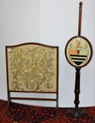 A Victorian pole screen with Barber crest and an early 20th century fire screen (2)