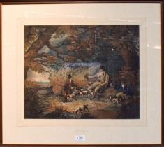 Attributed to The Rev W Gilpin (1724-1804) Hunting party, watercolour heightened with white, 38cm by