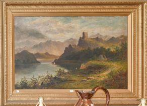 J Ellis (19th/20th century) A Lochside castle in a mountainous landscape, signed oil on canvas, 75cm