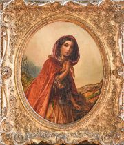 S Baldwin (19th century) Girl in cloak, oil on canvas, (oval) 39cm by 31cm