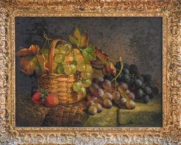 Follower of Edward Ladell (19th/20th century) Still life with a basket of grapes, oil on board, 28.