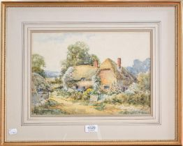 English school (19th/20th century) Thatched country cottage, indistinctly signed watercolour, 26cm