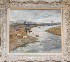 Adrian Hill (20th century) ''Shoreham Harbour from the Bridge'', signed oil on board, 50cm by 60cm