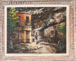 Leon Schwartz-Abrys (1905-1990) Hungarian/French, A French steet view, signed oil on board, 53cm