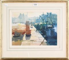 Alexander Creswell, 'The Quayside, St Vaast, Normandy' signed watercolour, 27cm by 37cm, together