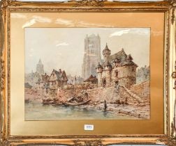 Paul Marney (1829-1914) Continental town view from the river, signed, watercolour, 37.5cm by 52.5cm