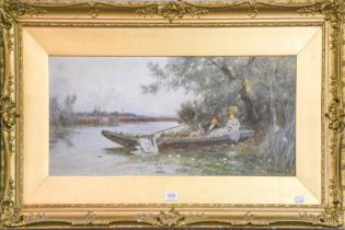 Thomas Lloyd (early 20th century) A gentleman and lady recumbent in shade on a river boat, signed