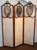 A mahogany inlaid three-fold screen glazed with cream brocade, each panel 46cm by 180cm