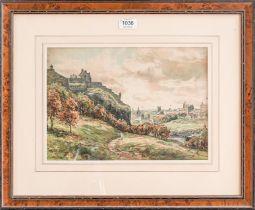 John Hamilton Glass (1890-1925) A view of Edinburgh Castle and City, signed watercolour, 24cm by