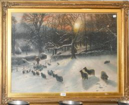 A Joseph Farquharson print, 56.5cm by 82cm, together with Thomas Sydney (19th century) view of