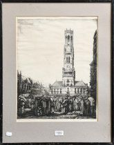 After Percy Smith, three etchings of a Continental town square, 47cm by 27cm, and a Continental