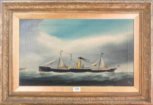 W. Hoopen (early 19th/20th century) A naive portrait of a shipping vessel called Bolton Hall, signed