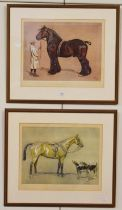 After Cecil Aldin, ''Strength'' and ''Brains'', coloured reproductions, 37cm by 49.5cm (2)