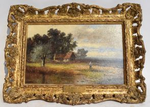 Attributed to Abraham Hulk Jnr. (1851-1922) Country cottage with figure in landscape, signed, oil on