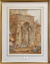 Attributed to Samuel Prout (1783-1852) Rouen Cathedral, monogrammed watercolour, 45.5cm by 32cm