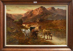 Samuel Seymour (19th century) 'Near Glencoe, Argyllshire', highland cattle in landscape, signed