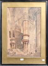 A McArthur (19th century) Architectural cathedral interior scene with figures, signed, together with