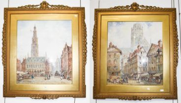 Pierre Le Boeuff (fl.1899-1920) Continental town scene with figures, signed, watercolour, together