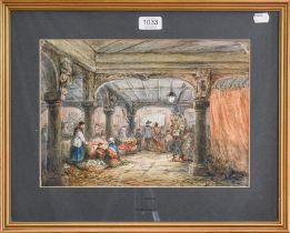 L.J. Rayner, Dover Market, watercolour, 24cm by 35cm