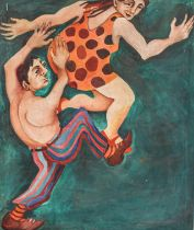 British school (Contemporary) Dancing figures, oil on canvas, 90cm by 70cm