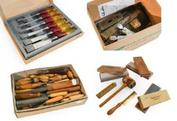Various Woodworking Tools including three boxed sharpening stones, small woodcarving tools,