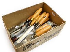 Selection Of Chisels And Gouges including five gouges by Marples with 8'' blades, three Marples