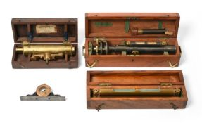 Casartelli Level grey finish and a heavy brass Spirit level both in mahogany cases; J Cooke (York)