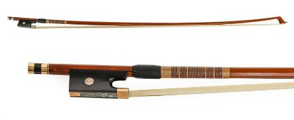 Violin Bow By Howard Green stamped with makers name, octagonal stick length excluding button 725mm