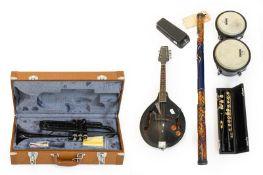 Various Instruments including Trumpet black finish (cased) Flute black finish with gold keys (cased)