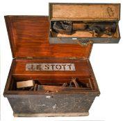 Tool Chest including various wooden planes longest 22'', moulding planes bit & brace set, No.5 & 4