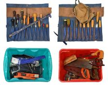 Various Woodworking Tools including assorted large drill bits, tenon saws and others