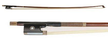 Violin Bow stamped 'Albert Nurnberger', length excluding button 728mm