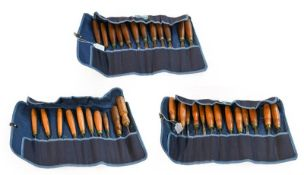 Wood Carving Chisels four canvas rolls containing 40 examples by various makers including Addis, C
