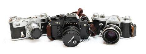 Contax Three Cameras (i) RTS II Quartz with Carl Zeiss T* Planar f1.7 50mm lens (ii) II with Carl