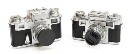 Contax Two Cameras (i) III with Carl Zeiss Sonnar f1.5 50mm lens (cosmetic wear) (ii) IIIa with