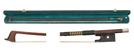 Violin Bow By The Makers W E Hill & Son octagonal stick with metal tip plate stamped 'W E Hill &