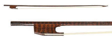 Violin Bow (Baroque) By Roger Doe stamped on underside of stick, round stick 685mm excluding button