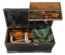 Tool Box containing No.7 Bailey plane, router plane, Spear & Jackson No.26 Tenon saw, chisels,