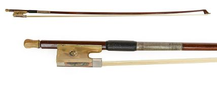 Violin Bow stamped 'J S LaPierre' length excluding button 731mm