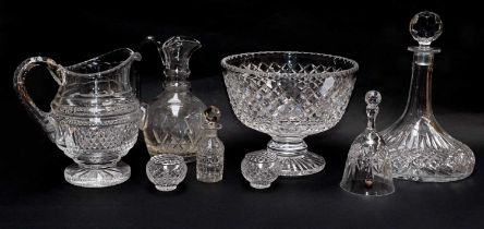 A quantity of cut glassware including a footed bowl, decanter and jug etc