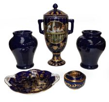 Gilt highlighted cobalt blue items including Limoge vase and cover, Coalport dish, a pair of Doulton
