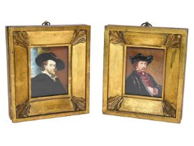 A pair of watercolour on ivory miniatures, depicting Rembrandt and Rubens, possibly by Emma Eleonora