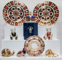 Royal Crown Derby paperweights including Harrods bear, together with three Royal Crown Derby Imari