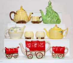 A collection of early to mid 20th century teapots to include, Lingard Bo Peep pattern, Burleigh ware