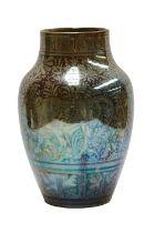 A Pilkington's Royal Lancastrian lustre vase, by Richard Joyce, with three water buffalo, in copper,