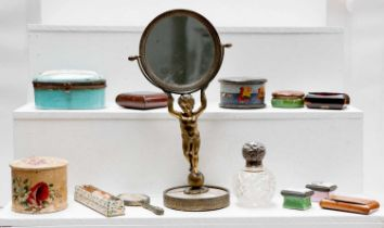 A selection of collectables, comprising: a figural gilt bronze swivel table mirror, enamel patch