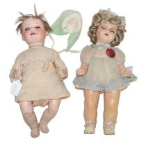 Heubach Koppelsdorf, 300 bisque socket head doll on composition bent limb body, and a 1930's